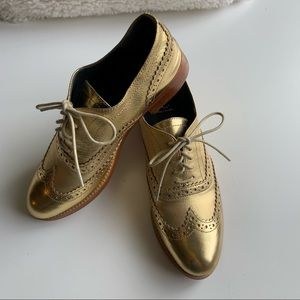 Monika Chiang Gold Leather Wingtips Oxfords Dressy